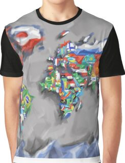 world map flags 3 Graphic T-Shirt