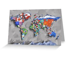 world map flags 3 Greeting Card