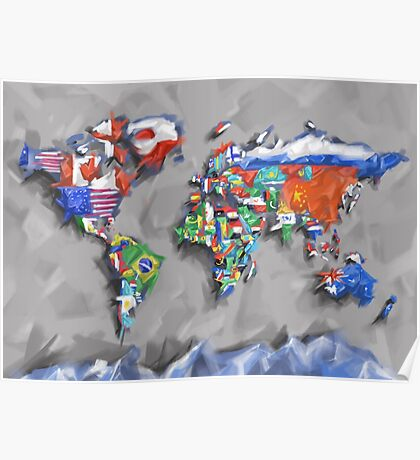 world map flags 3 Poster