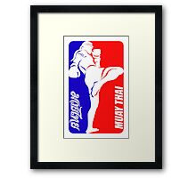 muay thai fighter thailand martial art sport logo badge sticker shirt Framed Print