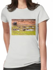 Herd of Thai buffalo cooling in during the day Womens Fitted T-Shirt