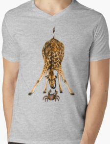 Curiosity killed the cat, not the giraffe Mens V-Neck T-Shirt