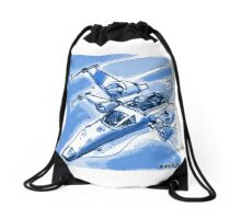 fighter on duty blue Drawstring Bag