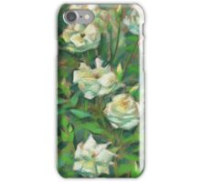 """""""White roses, green leaves"""", pastel painting, floral art iPhone Case/Skin"""