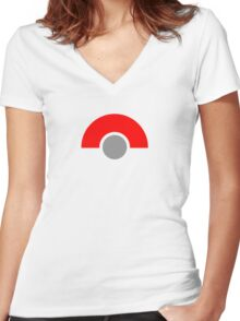 Abstract Grey Ball with Red Women's Fitted V-Neck T-Shirt