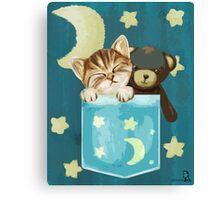 Sleepy Kitty In A Pocket Canvas Print