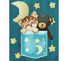 Sleepy Kitty In A Pocket Photographic Print