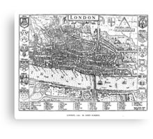 Vintage Map of London England (1593) Canvas Print