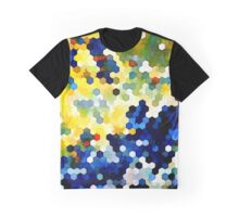 Yellow and Blue Honeycombs Graphic T-Shirt