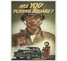Vintage poster - Are you playing square? Photographic Print