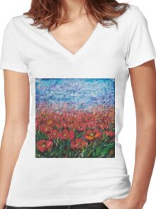 Red Poppy Field - by Lena Owens Women's Fitted V-Neck T-Shirt