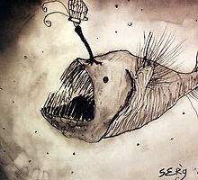 Angler fish with a butterfly by siljaerg