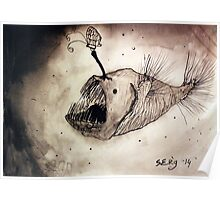 Angler fish with a butterfly Poster