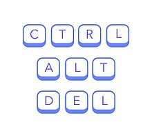 Ctrl Alt Del (blue) Photographic Print