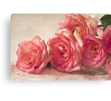 Rosy Elegance - Digital Watercolor  Canvas Print