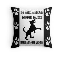 THE WELCOME HOME DOGGIE DANCE THROW PILLOW & TOTE BAG Throw Pillow