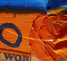 Collage Nr. 6 : orange, blue and wood by JoAnnFineArt