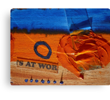 Collage Nr. 6 : orange, blue and wood Canvas Print