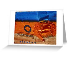 Collage Nr. 6 : orange, blue and wood Greeting Card