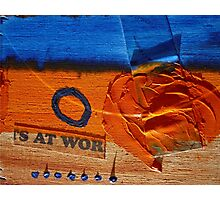 Collage Nr. 6 : orange, blue and wood Photographic Print