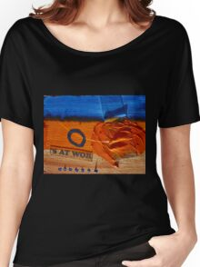 Collage Nr. 6 : orange, blue and wood Women's Relaxed Fit T-Shirt