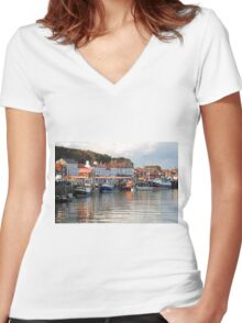 Boats in the Lower Harbour, Whitby Women's Fitted V-Neck T-Shirt