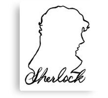 sherlock name and silhouette  Canvas Print