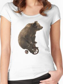 Black Bear Funny Bicycle Bear Quotes Women's Fitted Scoop T-Shirt
