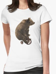 Black Bear Funny Bicycle Bear Quotes Womens Fitted T-Shirt