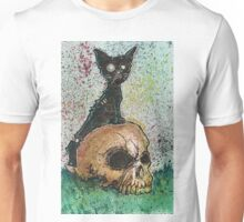 Black Cat with a Skull Unisex T-Shirt