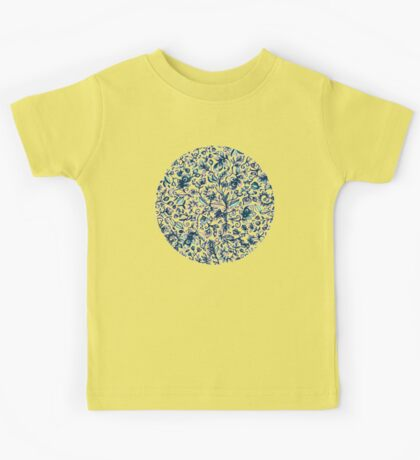 Teal Garden - floral doodle pattern in cream & navy blue Kids Tee