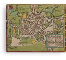 Vintge Map of Oxford England (1605) Canvas Print