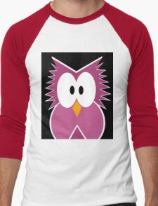Pink owl  Men's Baseball ¾ T-Shirt