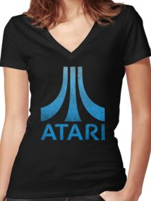 Atari Classic  Blue Vintage  Women's Fitted V-Neck T-Shirt