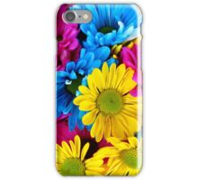 Daisy Flowers, Petals, Blossoms - Blue Yellow Pink iPhone Case/Skin