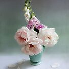 Vintage Pink Roses and Foxglove Still Life by LouiseK