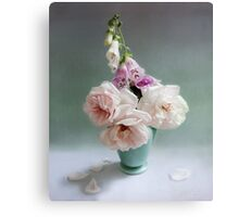 Vintage Pink Roses and Foxglove Still Life Canvas Print