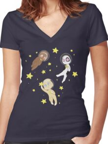 Space Buns Women's Fitted V-Neck T-Shirt