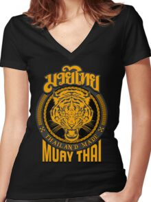 tiger sagat muay thai  thailand martial art logo Women's Fitted V-Neck T-Shirt