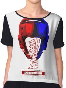 taekwondo kyorugi fighter korean martial art kick and punch Chiffon Top