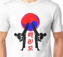 taekwondo badge black high kick korean martial art kick and punch Unisex T-Shirt