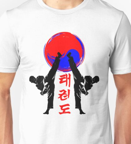 taekwondo badge black high kick korean martial art kick and punch Unisex T-Shirt