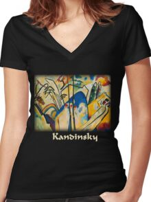 Kandinsky - Composition No. 4 Women's Fitted V-Neck T-Shirt