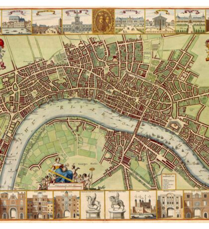 Vintage Map of London England (16th Century) Sticker