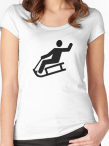 Sled sleigh fun Women's Fitted Scoop T-Shirt