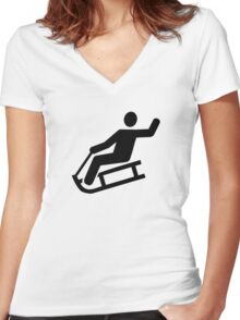 Sled sleigh fun Women's Fitted V-Neck T-Shirt