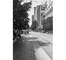 Joel looking for new talent on Bourke St Photographic Print