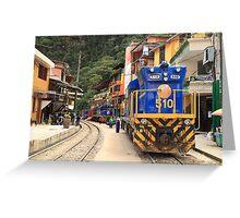 Supply Trains in Aguas Calientes, Peru Greeting Card