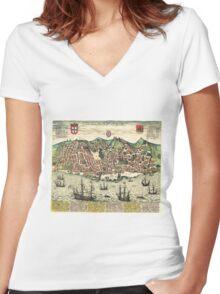 Vintage Map of Lisbon Portugal (1598) Women's Fitted V-Neck T-Shirt