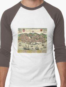 Vintage Map of Lisbon Portugal (1598) Men's Baseball ¾ T-Shirt